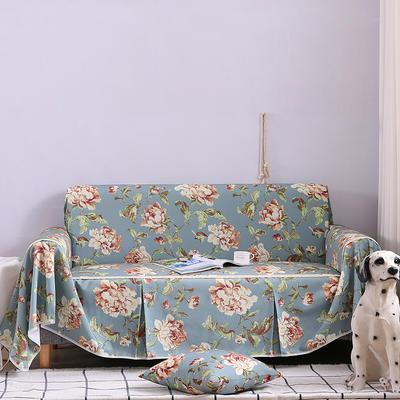2019新款美式全盖沙发巾 桌布90*90cm/条 妮蒂娅蓝