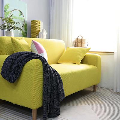 2019新款高端金粒绒品质沙发套全包万能套沙发垫沙发巾沙发罩沙发笠 抱枕套【50*50一只】 金粒绒-柠檬黄