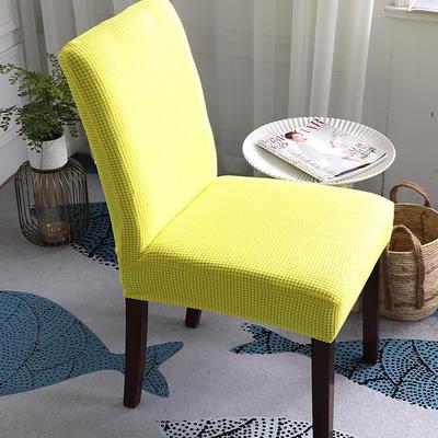 2019新款 高端金粒绒加厚针织连体椅套椅子套坐垫套罩沙发套 柠檬黄