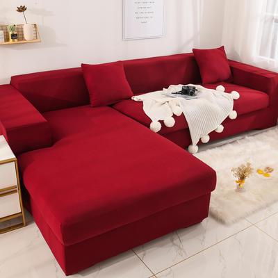 2019高端风格组合L型沙发套全包沙发套罩网红沙发套沙发垫套 同色抱枕【45*45一只】 纯色-酒红