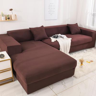 2019高端风格组合L型沙发套全包沙发套罩网红沙发套沙发垫套 同色抱枕【45*45一只】 纯色-咖啡色