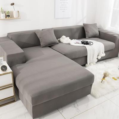 2019高端风格组合L型沙发套全包沙发套罩网红沙发套沙发垫套 同色抱枕【45*45一只】 纯色-银灰