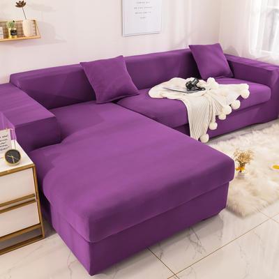 2019高端风格组合L型沙发套全包沙发套罩网红沙发套沙发垫套 同色抱枕【45*45一只】 纯色-紫色