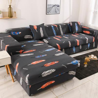 2019高端风格组合L型沙发套全包沙发套罩网红沙发套沙发垫套 同色抱枕【45*45一只】 印花-彩色羽毛