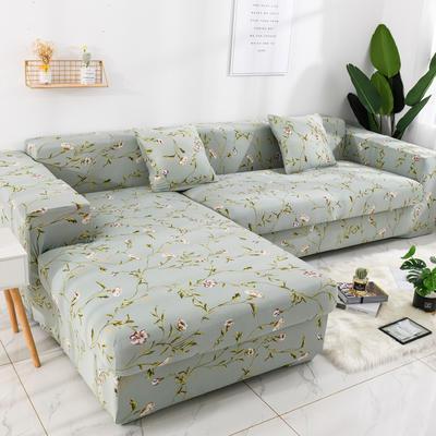2019高端风格组合L型沙发套全包沙发套罩网红沙发套沙发垫套 同色抱枕【45*45一只】 印花-花颜蜜语