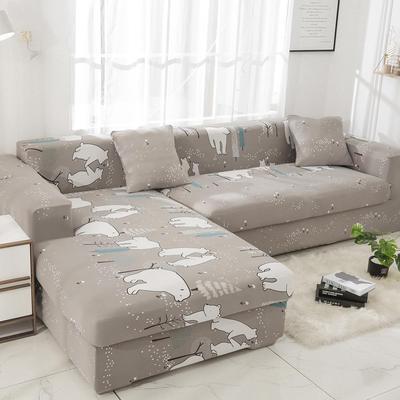 2019高端风格组合L型沙发套全包沙发套罩网红沙发套沙发垫套 同色抱枕【45*45一只】 卡通-北极熊