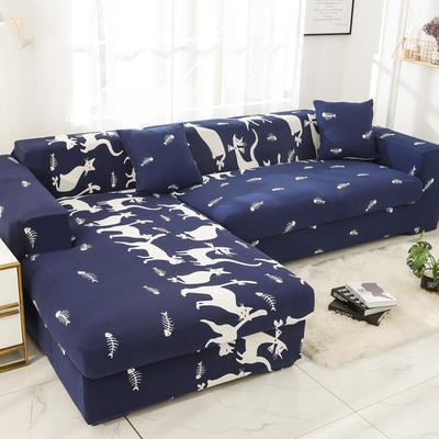 2019高端风格组合L型沙发套全包沙发套罩网红沙发套沙发垫套 同色抱枕【45*45一只】 卡通-时尚猫咪
