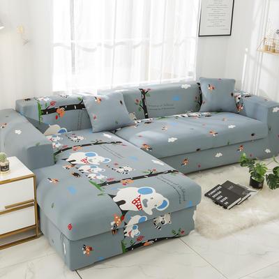 2019高端风格组合L型沙发套全包沙发套罩网红沙发套沙发垫套 同色抱枕【45*45一只】 卡通-快乐小象