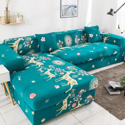 2019高端风格组合L型沙发套全包沙发套罩网红沙发套沙发垫套 同色抱枕【45*45一只】 纯色-藏青