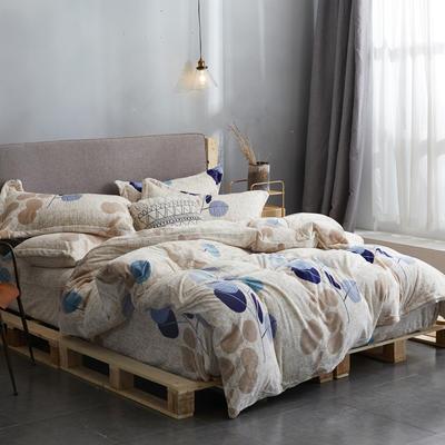 2019高端新款印花法蘭絨法萊絨牛奶絨水晶絨四件套抗靜電設計 1.0m(3.3英尺)床 葉問米黃