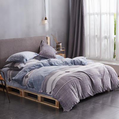 2019高端新款印花法蘭絨法萊絨牛奶絨水晶絨四件套抗靜電設計 1.0m(3.3英尺)床 印象北歐