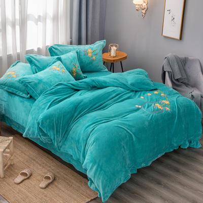 2019高端新款新中式毛巾繡法萊絨牛奶絨水晶絨四件套抗靜電設計 1.5m(5英尺)床 孔雀藍新中式