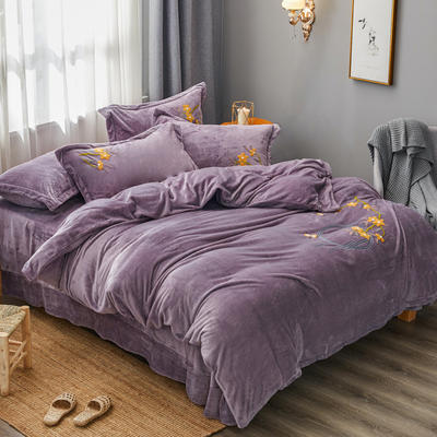 2019高端新款新中式毛巾繡法萊絨牛奶絨水晶絨四件套抗靜電設計 1.5m(5英尺)床 神秘紫新中式