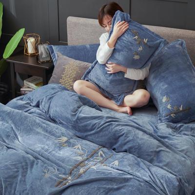 2019高端新款毛巾繡法萊絨牛奶絨水晶絨四件套多件套抗靜電設計 1.8m(6英尺)床 淺藍竹繡