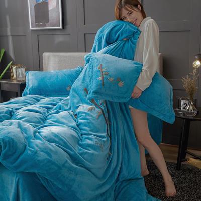 2019高端新款毛巾繡法萊絨牛奶絨水晶絨四件套多件套抗靜電設計 1.8m(6英尺)床 天藍竹繡