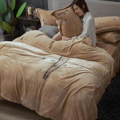 2019高端新款毛巾繡法萊絨牛奶絨水晶絨四件套多件套抗靜電設計 1.8m(6英尺)床 駝色竹繡
