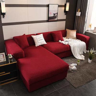 2019新超高端高彈金針提花全包萬能沙發套沙發罩沙發墊沙發巾套罩 同色抱枕套45*45cm 金提紅