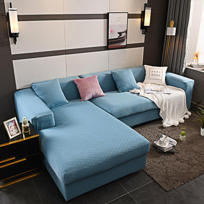 2019新超高端高彈金針提花全包萬能沙發套沙發罩沙發墊沙發巾套罩 同色抱枕套45*45cm 金提藍