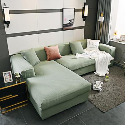 2019新超高端高彈金針提花全包萬能沙發套沙發罩沙發墊沙發巾套罩 同色抱枕套45*45cm 金提綠