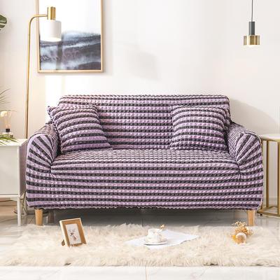 2020款泡泡紗布全包沙發套萬能套罩沙發墊彈力椅套 跨境外貿專供 同色抱枕套45*45cm 雙色紫