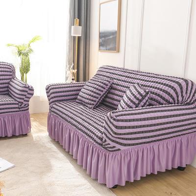 2020款花邊款泡泡布沙發套全包萬能套罩沙發墊 跨境外貿專供 同色抱枕套一只 裙擺款—雙色紫