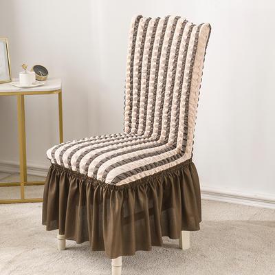 2020款泡泡布格裙擺款椅套彈力連體沙發套 跨境外貿專供 雙色咖—裙擺款
