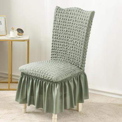 2020款泡泡布格裙擺款椅套彈力連體沙發套 跨境外貿專供 單色綠—裙擺款