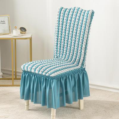 2020款泡泡布格裙擺款椅套彈力連體沙發套 跨境外貿專供 雙色藍—裙擺款