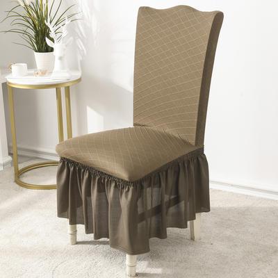 2020款金針提花裙擺款椅套彈力連體沙發套 跨境外貿專供 金提淺咖—裙擺款