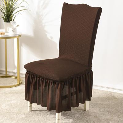 2020款金針提花裙擺款椅套彈力連體沙發套 跨境外貿專供 金提深咖—裙擺款