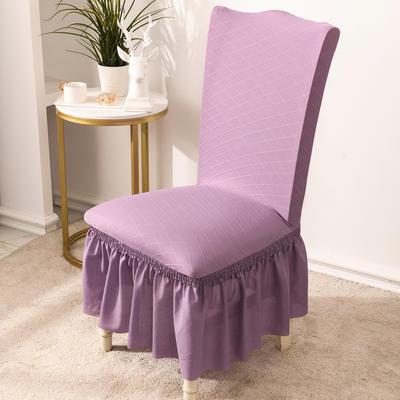 2020款金針提花裙擺款椅套彈力連體沙發套 跨境外貿專供 金提紫—裙擺款