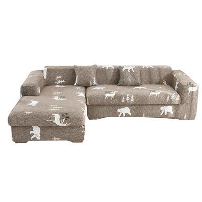 2020跨境外贸专供印花沙发套全包沙发套罩网红沙发套沙发垫套 单人90-140cm 熊鹿聚会