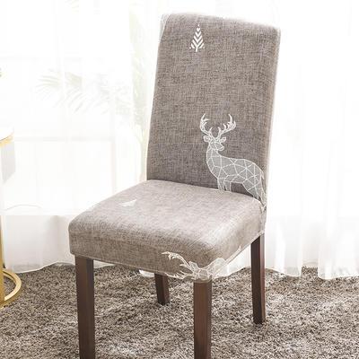 2020新款印花牛奶絲椅套彈力連體椅子套 鋼鐵麋鹿