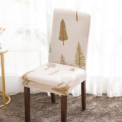 2020新款印花牛奶絲椅套彈力連體椅子套 木森林