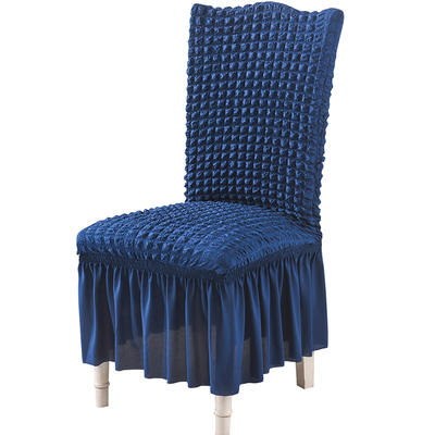 2020款泡泡布格裙摆款椅套弹力连体沙发套 跨境外贸专供 单色希腊蓝
