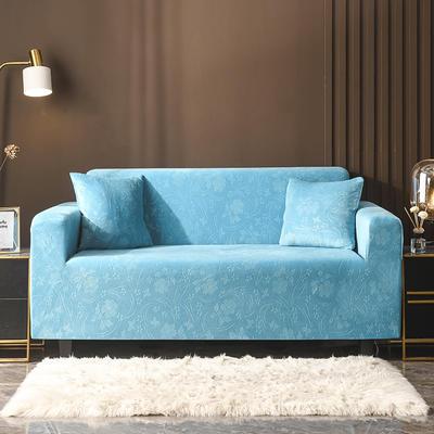 2020新款韩国水晶绒雕花加厚沙发套 单人90-140cm 湖蓝水晶绒