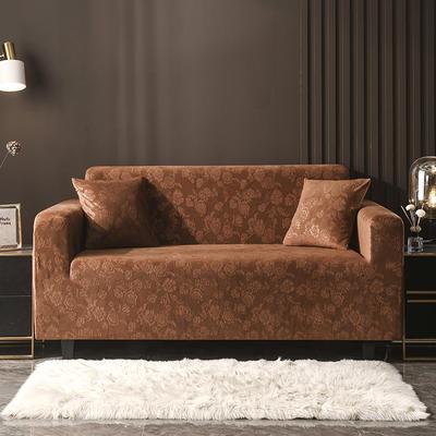 2020新款韩国水晶绒雕花加厚沙发套 单人90-140cm 咖啡色水晶绒