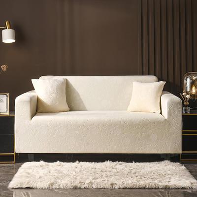 2020新款韩国水晶绒雕花加厚沙发套 单人90-140cm 米黄水晶绒