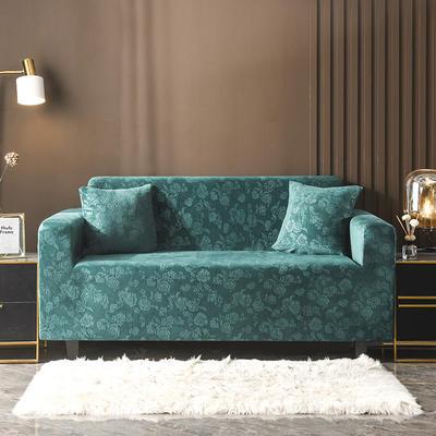 2020新款韩国水晶绒雕花加厚沙发套 单人90-140cm 墨绿水晶绒