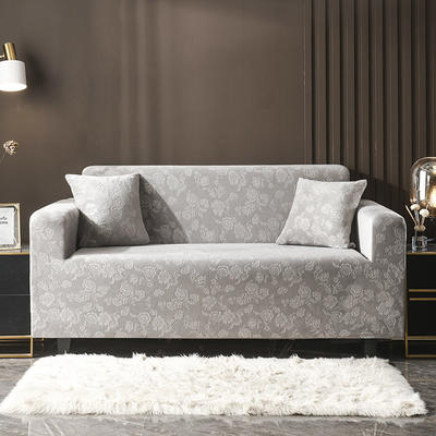 2020新款韩国水晶绒雕花加厚沙发套 单人90-140cm 浅灰水晶绒
