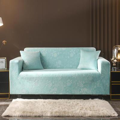 2020新款韩国水晶绒雕花加厚沙发套 单人90-140cm 浅蓝水晶绒