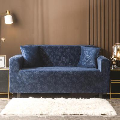 2020新款韩国水晶绒雕花加厚沙发套 单人90-140cm 深蓝水晶绒