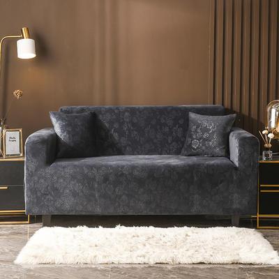 2020新款韩国水晶绒雕花加厚沙发套 单人90-140cm 烟灰水晶绒
