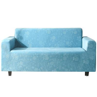 2020新款韩国水晶绒雕花加厚沙发套跨境外贸专供 单人90-140cm 湖蓝水晶绒