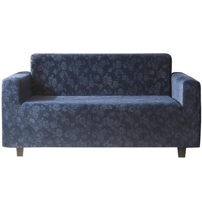 2020新款韩国水晶绒雕花加厚沙发套跨境外贸专供 单人90-140cm 深蓝色水晶绒