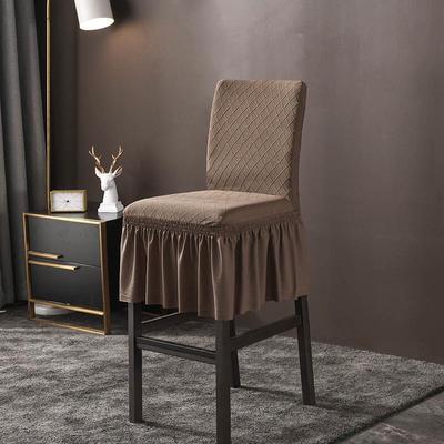 2020新款酒吧高腳連體椅子套金針提花裙擺款椅套彈力 金提淺咖酒吧椅套