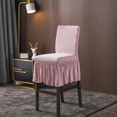 2020新款酒吧高腳連體椅子套金針提花裙擺款椅套彈力 金提粉酒吧椅套