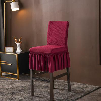 2020新款酒吧高腳連體椅子套金針提花裙擺款椅套彈力 金提紅酒吧椅套