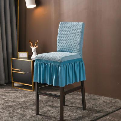 2020新款酒吧高腳連體椅子套金針提花裙擺款椅套彈力 金提藍酒吧椅套