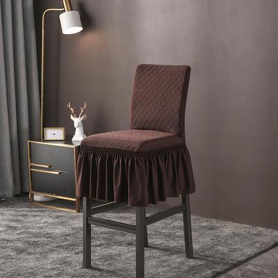 2020新款酒吧高腳連體椅子套金針提花裙擺款椅套彈力 金提深咖酒吧椅套
